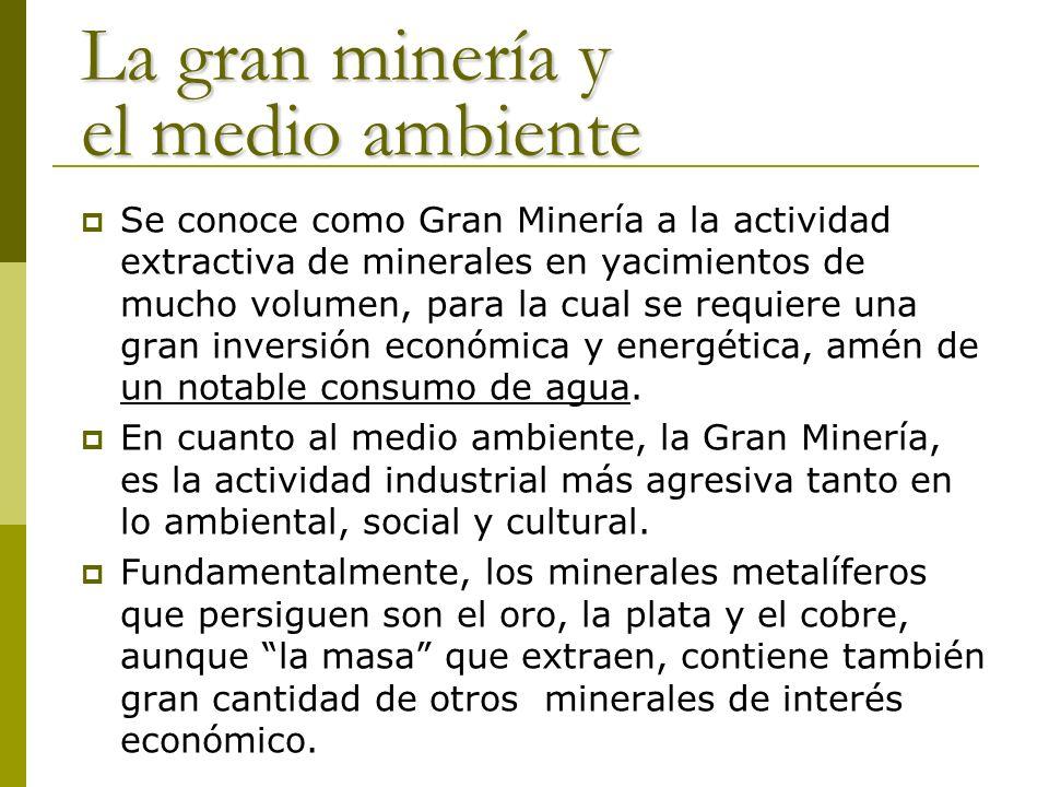 La gran minería y el medio ambiente Se conoce como Gran Minería a la actividad extractiva de minerales en yacimientos de mucho volumen, para la cual s