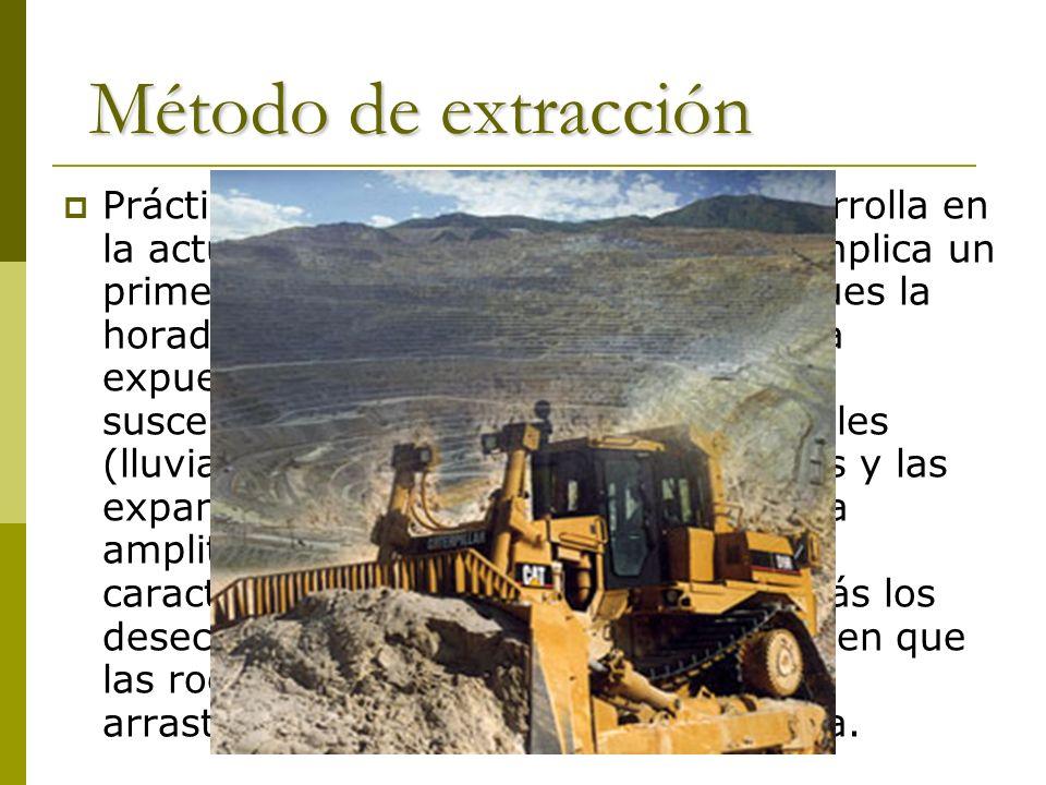Método de extracción Prácticamente la gran minería se desarrolla en la actualidad a cielo abierto y esto implica un primer escenario de contaminación,