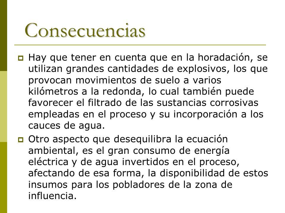 Consecuencias Hay que tener en cuenta que en la horadación, se utilizan grandes cantidades de explosivos, los que provocan movimientos de suelo a vari