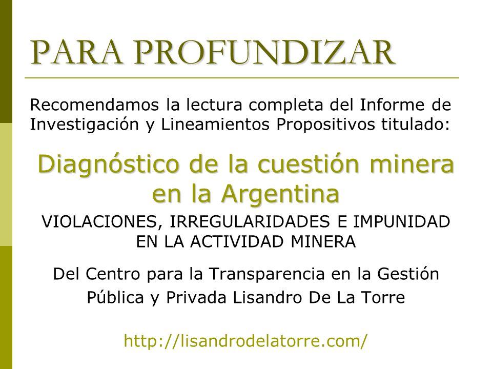PARA PROFUNDIZAR Recomendamos la lectura completa del Informe de Investigación y Lineamientos Propositivos titulado: Diagnóstico de la cuestión minera