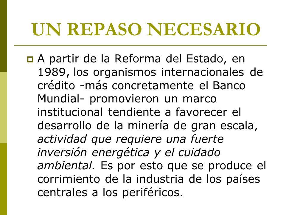 UN REPASO NECESARIO A partir de la Reforma del Estado, en 1989, los organismos internacionales de crédito -más concretamente el Banco Mundial- promovi