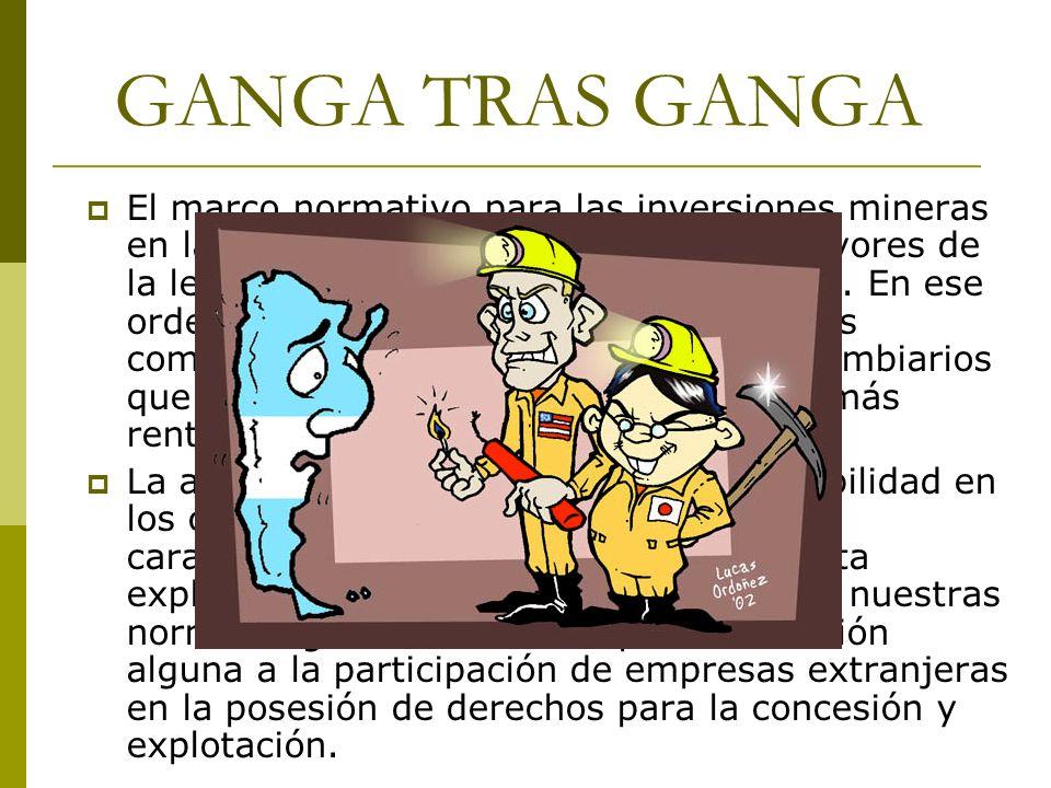 GANGA TRAS GANGA El marco normativo para las inversiones mineras en la Argentina se caracteriza por los favores de la legislación con carácter promoci