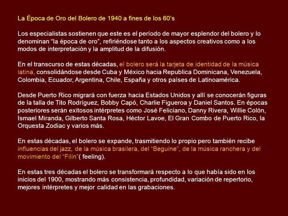 1925-Vive Sedano, SauloReina Mía (como podré reina mía, expresar este amor……………….) 1925-2012 Valdelamar, EmmaMil besos (yo sé que en los mil besos que te he dado en la boca…) Mucho corazón (di si encontraste en mi pasado una razón, para quererme….) 1926-Vive Fuentes, RubénLuz y Sombra (yo se que te han dicho que no valgo nada………………….) Cien años (Pasaste a mi lado con gran indiferencia…..) Escándalo (porque tu amor es mi espina, por las cuatro esquinas hablan……..) Que murmuren (que murmuren, no me importa que murmuren ………………………) 1926-1973 Jiménez, José AlfredoAmémonos (buscaba mi alma con afán tu alma……………………..) Si nos dejan (si nos dejan nos vamos a querer toda la vida……………….) 1929-Vive González, Carlos AurelioEternamente (eternamente te amaré, yo te lo juro…………………….) Ojos cafés (café de un café oscuro son tus ojos……………………..) 1930-2010 Cantoral RobertoEl Reloj (reloj no marques las horas, porque voy a enloquecer…………….) La Barca (dicen que la distancia es el olvido…..) Soy lo prohibido (soy ese vicio de tu piel, que ya no puedes desprender……………) Yo lo comprendo (que has dejado de amarme y no sientes besarme…………………) 1930-2012 Navarro, ArmandoPor fin (por fin ahora soy feliz, por fin he realizado el amor soñado…….) 1931-2007 Demetrio LuisLa Puerta (la puerta se cerró detrás de mí………….) Voy (voy a mojarme los labios con agua bendita……) 1932-2005 Mato, Víctor ManuelEstoy perdido (estoy perdido y no se que camino me trajo hasta aquí………….) 1932-Vive Velázquez, SalvadorSabes de qué tengo ganas (de que el sol salga de noche, del amor hacer derroche…….) 1933-Vive Pulido, AbelardoUn sueño de tantos (sueño que en noches calladas, te tengo en mis brazos….) Entrega Total (Pero esta vez ya no soporto la terrible soledad…….....) 1934-Vive Navarro, Enrique CoquiTe amaré toda la vida (Te amaré toda la vida, todos los años los meses y los días….) 1935-Vive Manzanero, ArmandoAdoro (adoro la calle en que nos vimos…………………………) Contigo aprendí (contigo aprendí a ver la luz del otro lado de