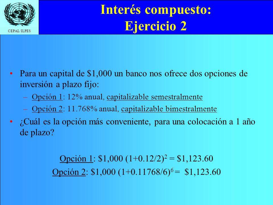 CEPAL/ILPES Interés compuesto: Ejercicio 2 Para un capital de $1,000 un banco nos ofrece dos opciones de inversión a plazo fijo: –Opción 1: 12% anual,