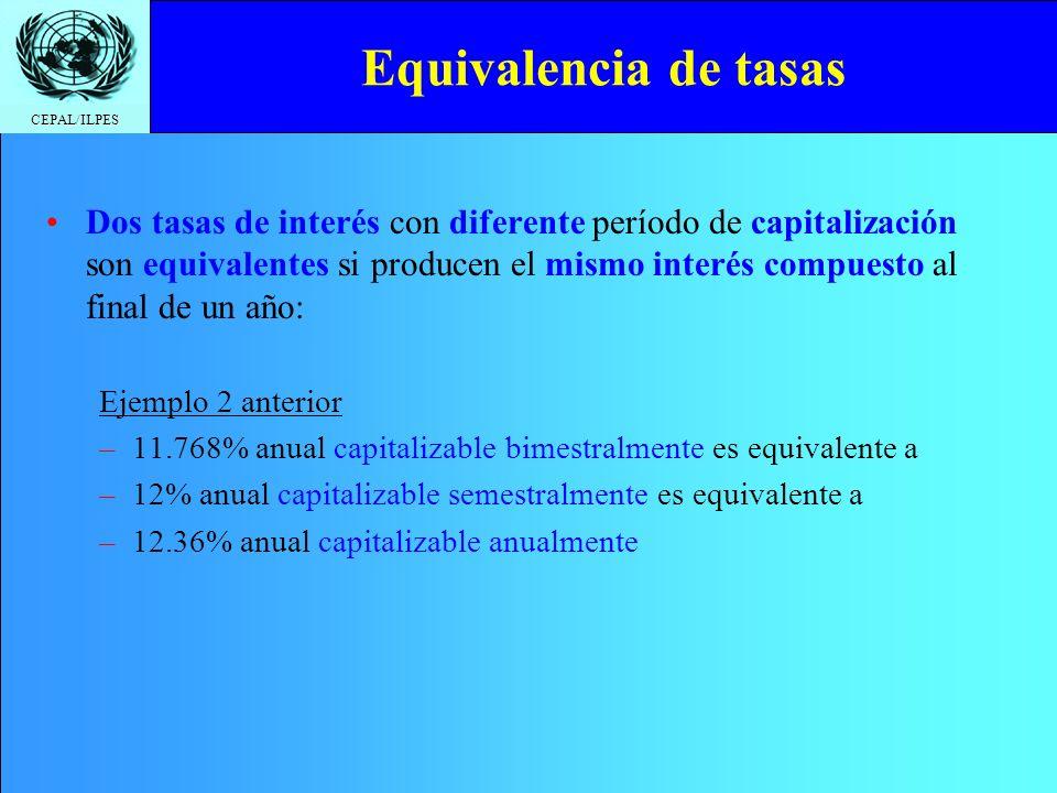CEPAL/ILPES Equivalencia de tasas Dos tasas de interés con diferente período de capitalización son equivalentes si producen el mismo interés compuesto