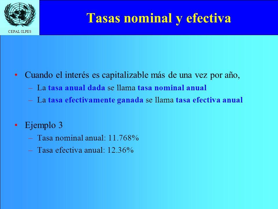 CEPAL/ILPES Tasas nominal y efectiva Cuando el interés es capitalizable más de una vez por año, –La tasa anual dada se llama tasa nominal anual –La ta