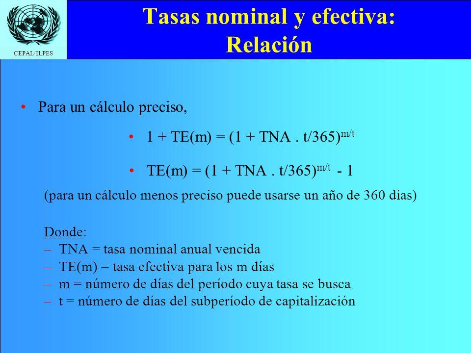 CEPAL/ILPES Tasas nominal y efectiva: Relación Para un cálculo preciso, 1 + TE(m) = (1 + TNA. t/365) m/t TE(m) = (1 + TNA. t/365) m/t - 1 (para un cál