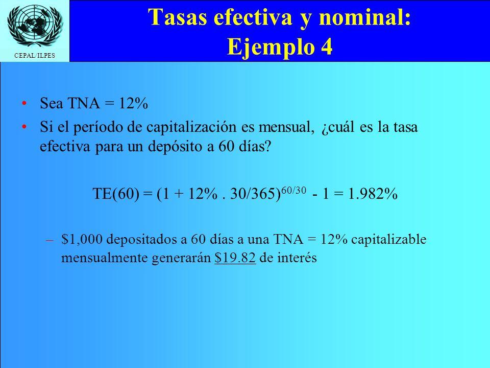 CEPAL/ILPES Tasas efectiva y nominal: Ejemplo 4 Sea TNA = 12% Si el período de capitalización es mensual, ¿cuál es la tasa efectiva para un depósito a