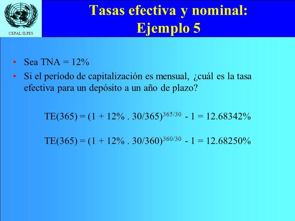 CEPAL/ILPES Tasas efectiva y nominal: Ejemplo 5 Sea TNA = 12% Si el período de capitalización es mensual, ¿cuál es la tasa efectiva para un depósito a