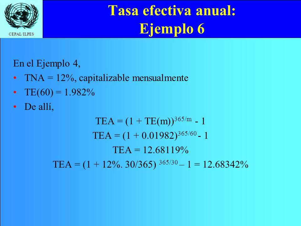 CEPAL/ILPES Tasa efectiva anual: Ejemplo 6 En el Ejemplo 4, TNA = 12%, capitalizable mensualmente TE(60) = 1.982% De allí, TEA = (1 + TE(m)) 365/m - 1