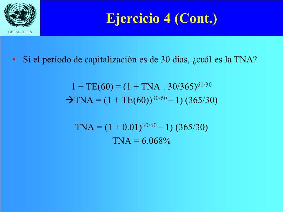 CEPAL/ILPES Ejercicio 4 (Cont.) Si el período de capitalización es de 30 días, ¿cuál es la TNA? 1 + TE(60) = (1 + TNA. 30/365) 60/30 TNA = (1 + TE(60)