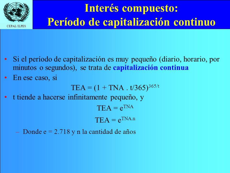 CEPAL/ILPES Interés compuesto: Período de capitalización continuo Si el período de capitalización es muy pequeño (diario, horario, por minutos o segun