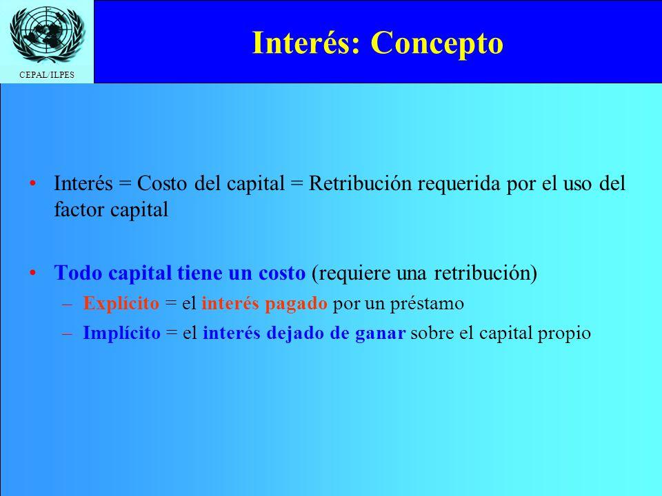 CEPAL/ILPES Interés = Costo del capital = Retribución requerida por el uso del factor capital Todo capital tiene un costo (requiere una retribución) –