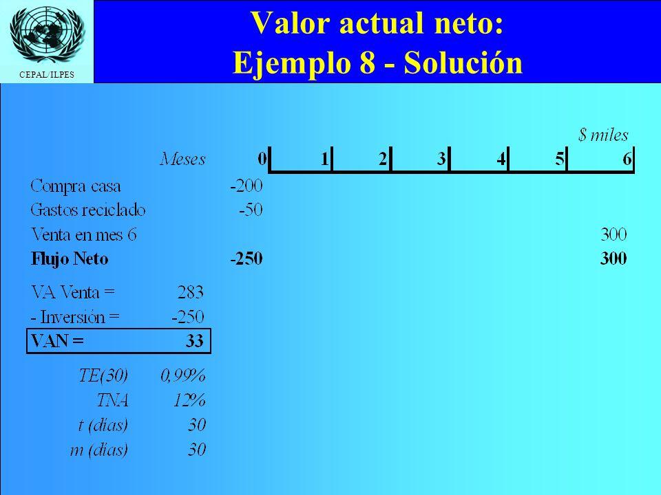 CEPAL/ILPES Valor actual neto: Ejemplo 8 - Solución