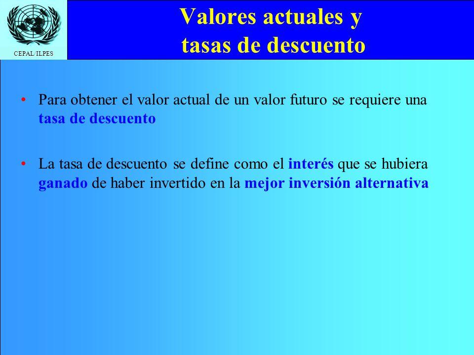 CEPAL/ILPES Valores actuales y tasas de descuento Para obtener el valor actual de un valor futuro se requiere una tasa de descuento La tasa de descuen