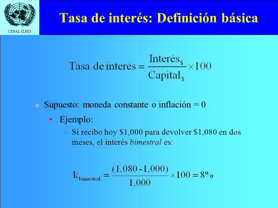 CEPAL/ILPES Tasa de interés: Definición básica Ejemplo: –Si recibo hoy $1,000 para devolver $1,080 en dos meses, el interés bimestral es: Supuesto: mo