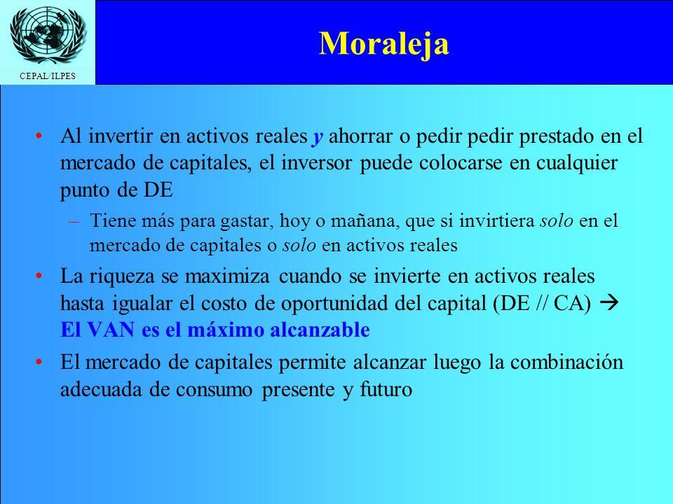CEPAL/ILPES Moraleja Al invertir en activos reales y ahorrar o pedir pedir prestado en el mercado de capitales, el inversor puede colocarse en cualqui