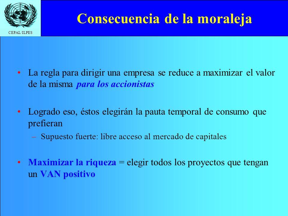 CEPAL/ILPES Consecuencia de la moraleja La regla para dirigir una empresa se reduce a maximizar el valor de la misma para los accionistas Logrado eso,