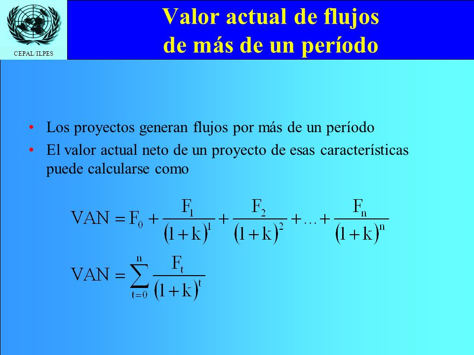 CEPAL/ILPES Valor actual de flujos de más de un período Los proyectos generan flujos por más de un período El valor actual neto de un proyecto de esas