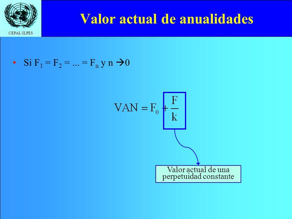 CEPAL/ILPES Valor actual de anualidades Si F 1 = F 2 =... = F n y n 0 Valor actual de una perpetuidad constante