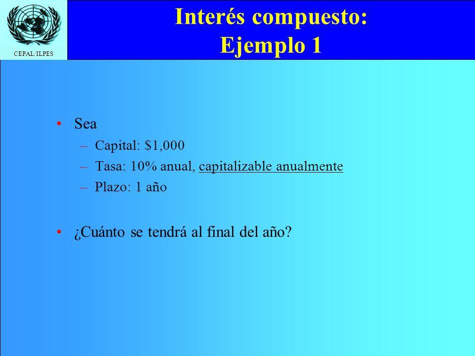 CEPAL/ILPES Tasas efectiva y nominal: Ejemplo 5 Sea TNA = 12% Si el período de capitalización es mensual, ¿cuál es la tasa efectiva para un depósito a un año de plazo.