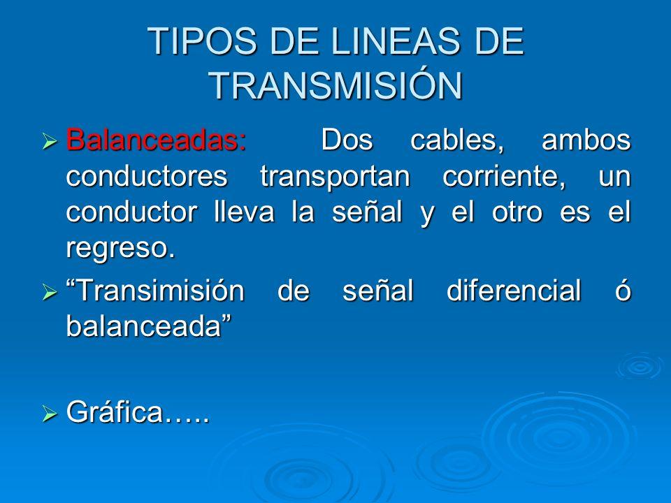 TIPOS DE LINEAS DE TRANSMISIÓN Balanceadas: Dos cables, ambos conductores transportan corriente, un conductor lleva la señal y el otro es el regreso.