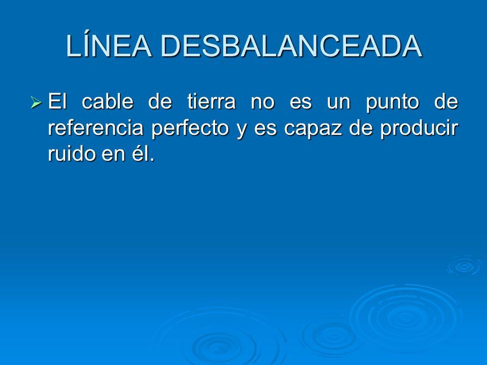 LÍNEA DESBALANCEADA El cable de tierra no es un punto de referencia perfecto y es capaz de producir ruido en él.