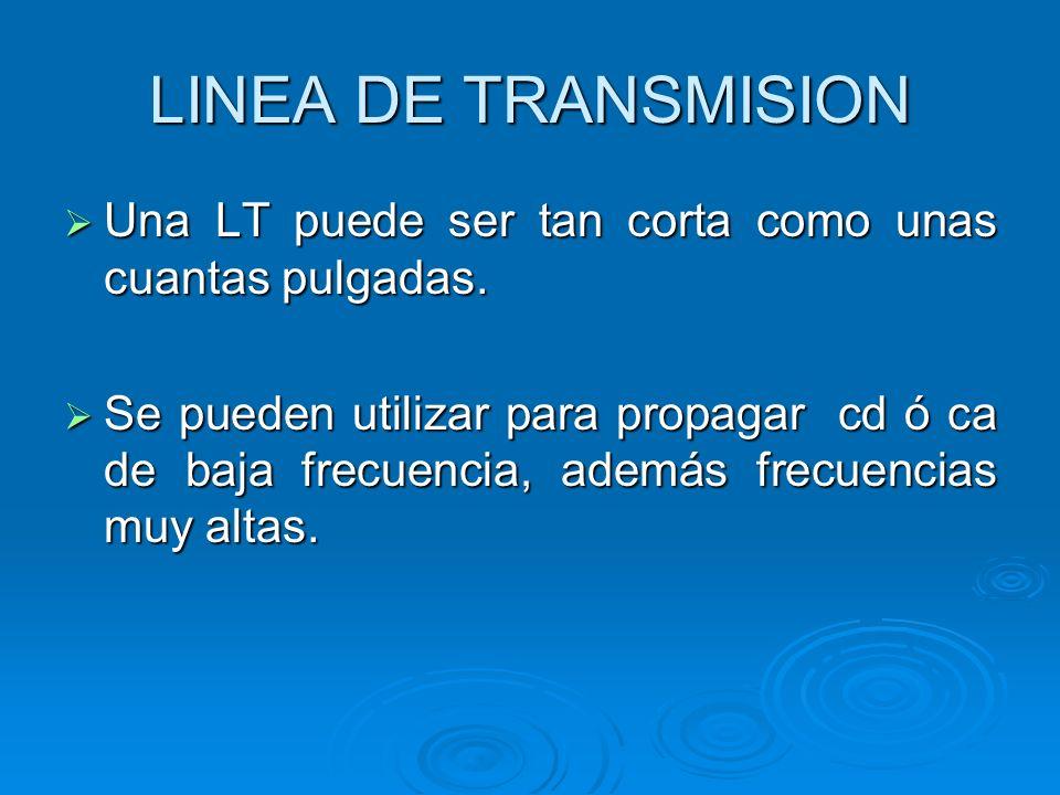 LINEA DE TRANSMISION Atenuación – Modificación de la fase Atenuación – Modificación de la fase Dependen de las características físicas de la LT y la frecuencia empleada