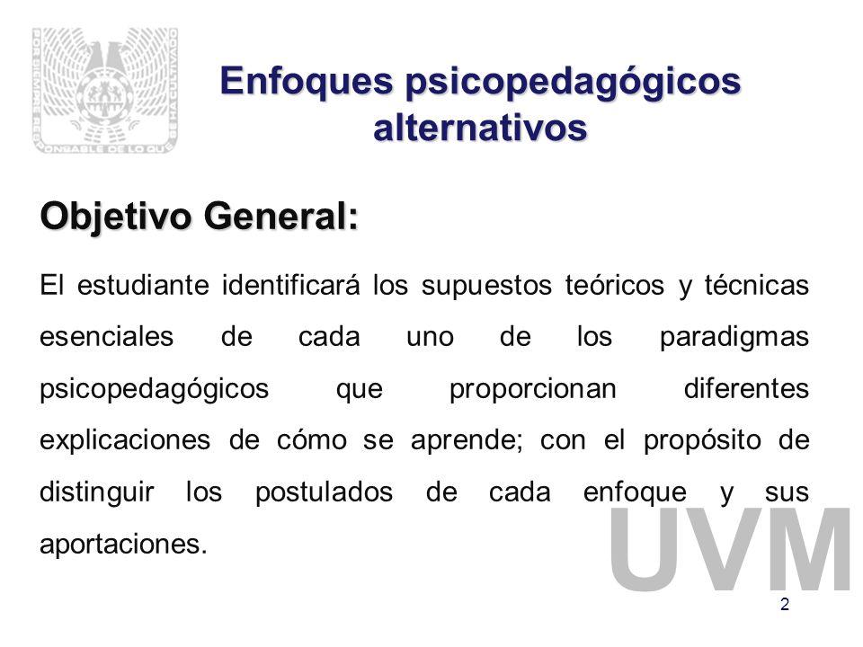 UVM 2 Enfoques psicopedagógicos alternativos Objetivo General: El estudiante identificará los supuestos teóricos y técnicas esenciales de cada uno de