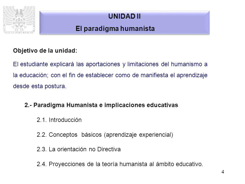 4 UNIDAD II El paradigma humanista UNIDAD II El paradigma humanista Objetivo de la unidad: El estudiante explicará las aportaciones y limitaciones del