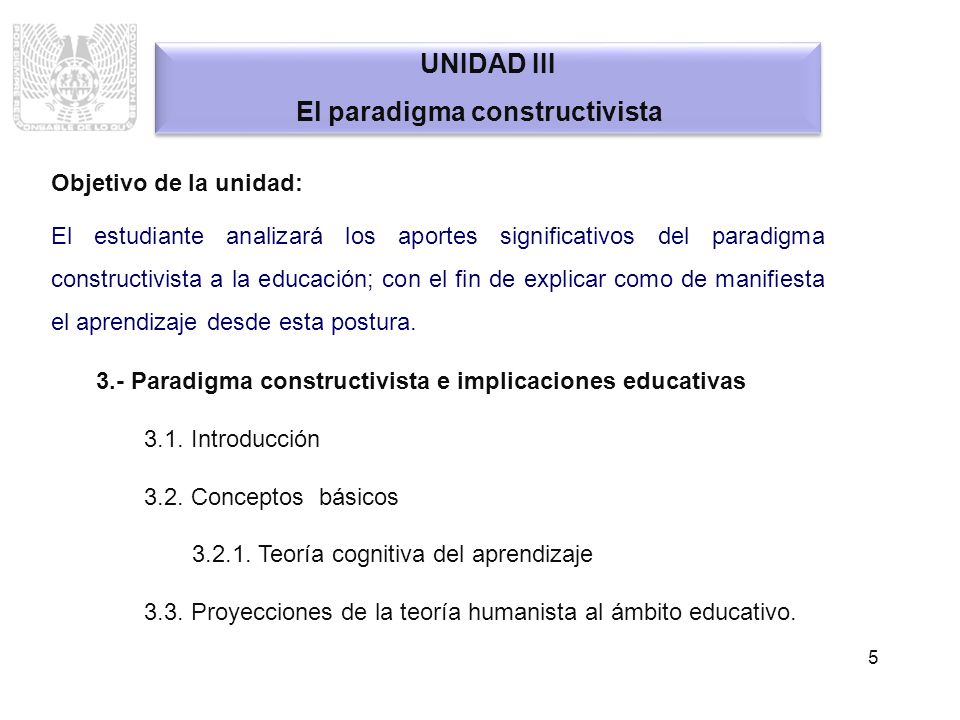 5 UNIDAD III El paradigma constructivista UNIDAD III El paradigma constructivista Objetivo de la unidad: El estudiante analizará los aportes significa