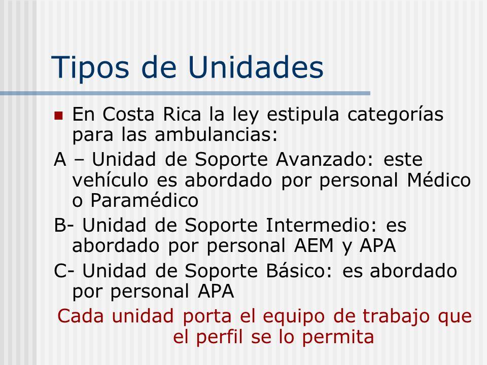 Tipos de Unidades En Costa Rica la ley estipula categorías para las ambulancias: A – Unidad de Soporte Avanzado: este vehículo es abordado por personal Médico o Paramédico B- Unidad de Soporte Intermedio: es abordado por personal AEM y APA C- Unidad de Soporte Básico: es abordado por personal APA Cada unidad porta el equipo de trabajo que el perfil se lo permita