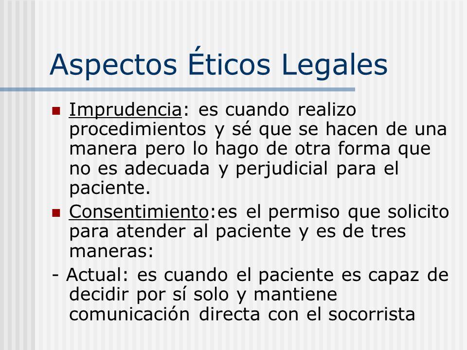 Aspectos Éticos Legales Imprudencia: es cuando realizo procedimientos y sé que se hacen de una manera pero lo hago de otra forma que no es adecuada y perjudicial para el paciente.
