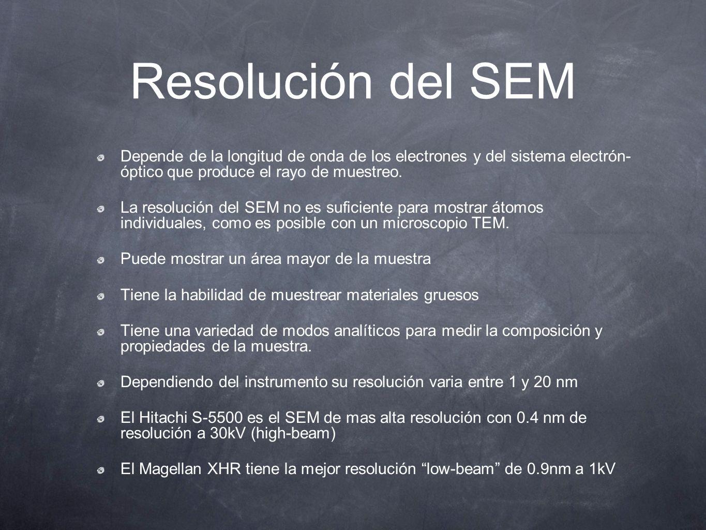 Resolución del SEM Depende de la longitud de onda de los electrones y del sistema electrón- óptico que produce el rayo de muestreo. La resolución del