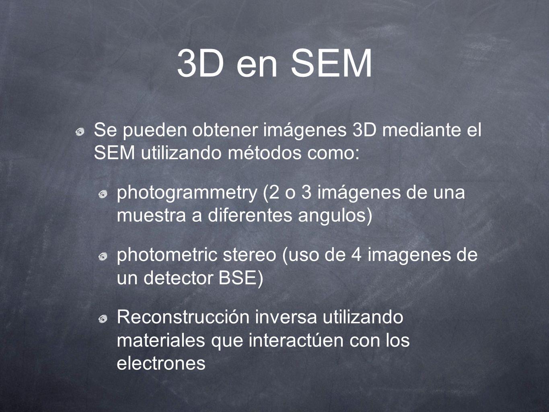 3D en SEM Se pueden obtener imágenes 3D mediante el SEM utilizando métodos como: photogrammetry (2 o 3 imágenes de una muestra a diferentes angulos) p