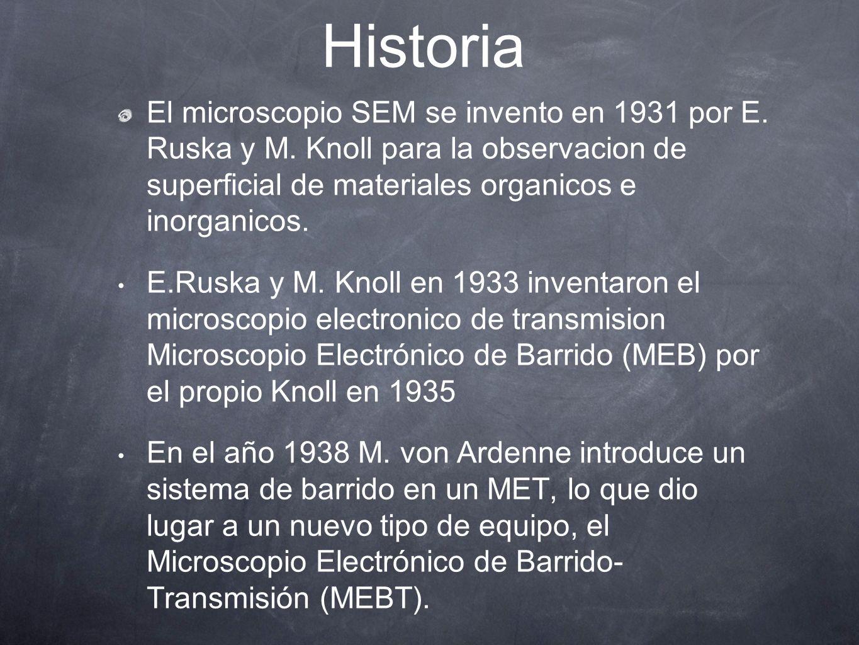 Historia El microscopio SEM se invento en 1931 por E. Ruska y M. Knoll para la observacion de superficial de materiales organicos e inorganicos. E.Rus