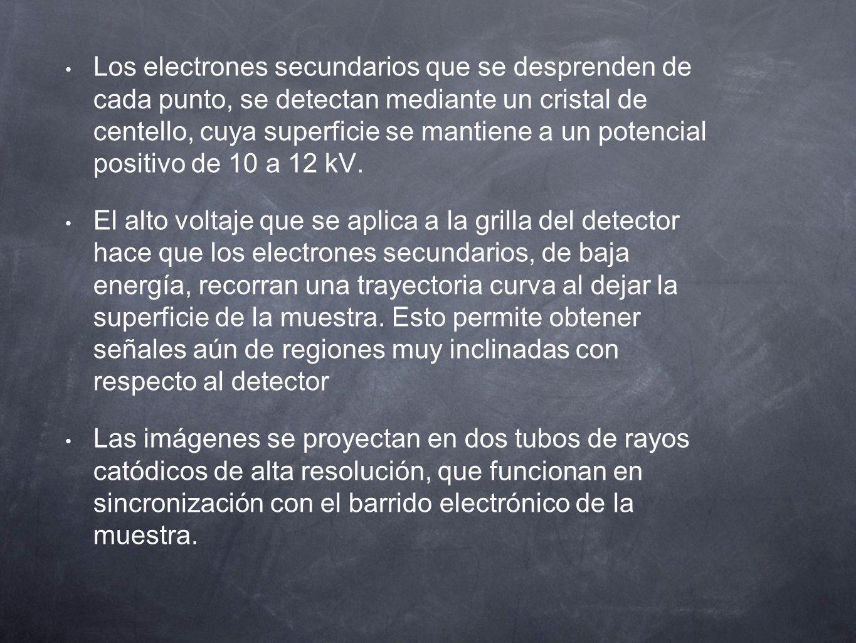 Los electrones secundarios que se desprenden de cada punto, se detectan mediante un cristal de centello, cuya superficie se mantiene a un potencial po
