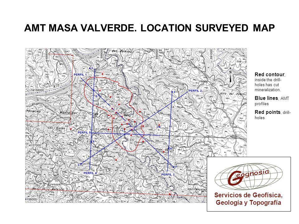 AMT MASA VALVERDE. LOCATION SURVEYED MAP Servicios de Geofísica, Geología y Topografía Red contour, inside the drill- holes has cut mineralization. Bl