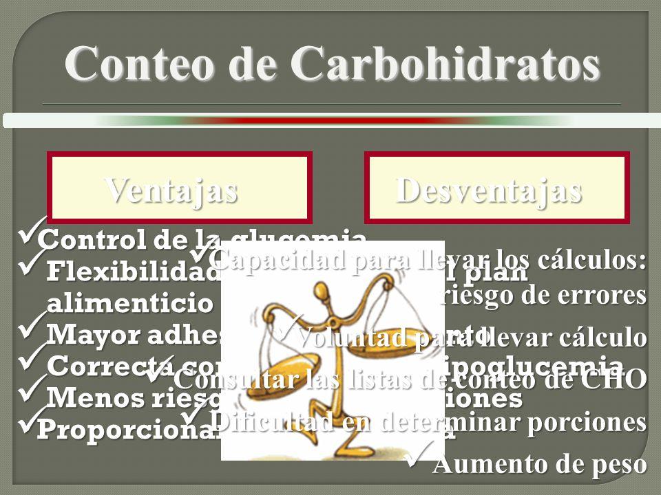Ventajas Ventajas Control de la glucemia Control de la glucemia Flexibilidad y libertad en el plan alimenticio Flexibilidad y libertad en el plan alimenticio Mayor adhesión al tratamiento Mayor adhesión al tratamiento Correcta corrección de la hipoglucemia Correcta corrección de la hipoglucemia Menos riesgo de complicaciones Menos riesgo de complicaciones Proporcionar calidad de vida Proporcionar calidad de vida Conteo de Carbohidratos Desventajas Desventajas Capacidad para llevar los cálculos: riesgo de errores Capacidad para llevar los cálculos: riesgo de errores Voluntad para llevar cálculo Voluntad para llevar cálculo Consultar las listas de conteo de CHO Consultar las listas de conteo de CHO Dificultad en determinar porciones Dificultad en determinar porciones Aumento de peso Aumento de peso