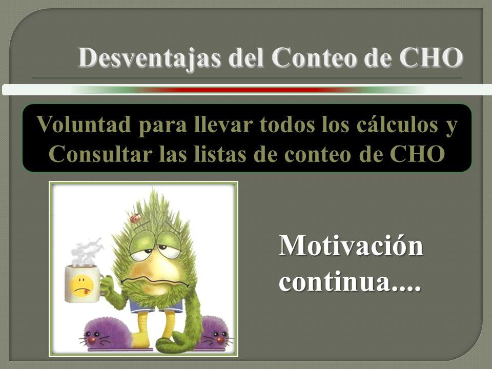 Voluntad para llevar todos los cálculos y Consultar las listas de conteo de CHO Motivación continua....