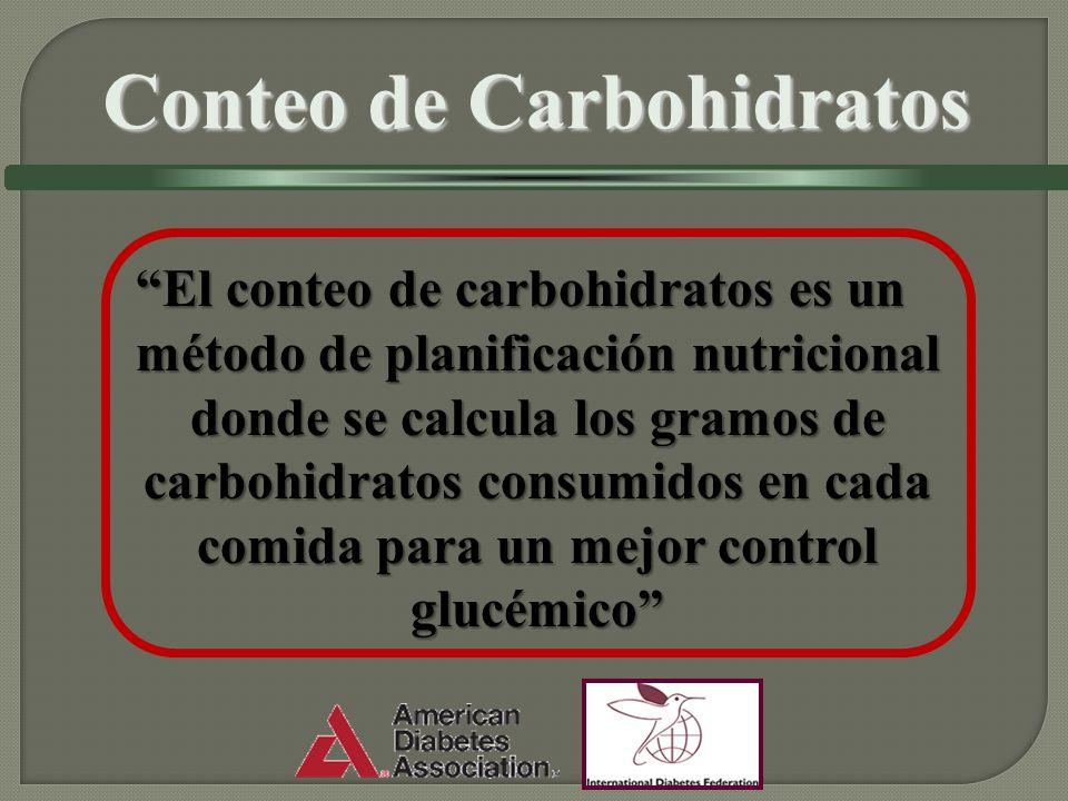 El conteo de carbohidratos es un método de planificación nutricional donde se calcula los gramos de carbohidratos consumidos en cada comida para un mejor control glucémicoEl conteo de carbohidratos es un método de planificación nutricional donde se calcula los gramos de carbohidratos consumidos en cada comida para un mejor control glucémico Conteo de Carbohidratos