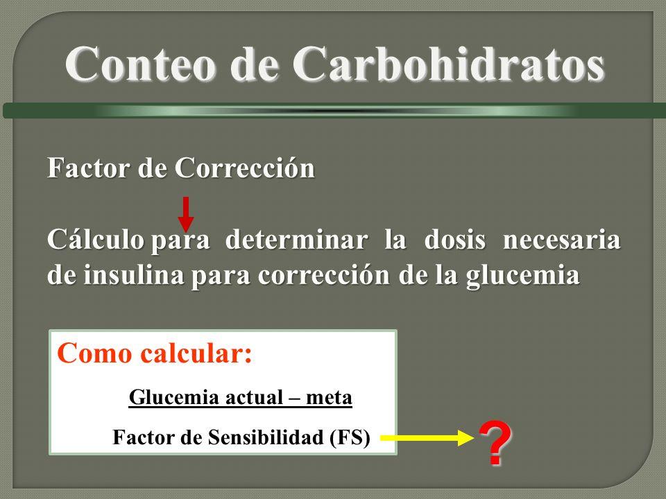 Factor de Corrección Cálculo para determinar la dosis necesaria de insulina para corrección de la glucemia Como calcular: Glucemia actual – meta Facto