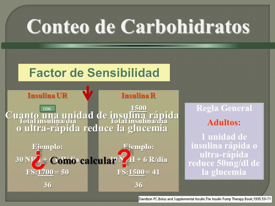 Insulina UR 1800 Total insulina/día Ejemplo: 30 NPH + 6 UR/dia FS:1700 = 50 36 Insulina R 1500 Total insulina/día Ejemplo: 30 NPH + 6 R/dia FS:1500 =