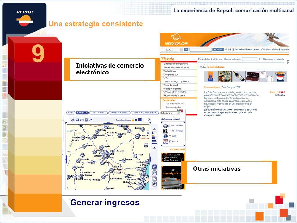 Una estrategia consistente Generar ingresos 9 9 Iniciativas de comercio electrónico Otras iniciativas