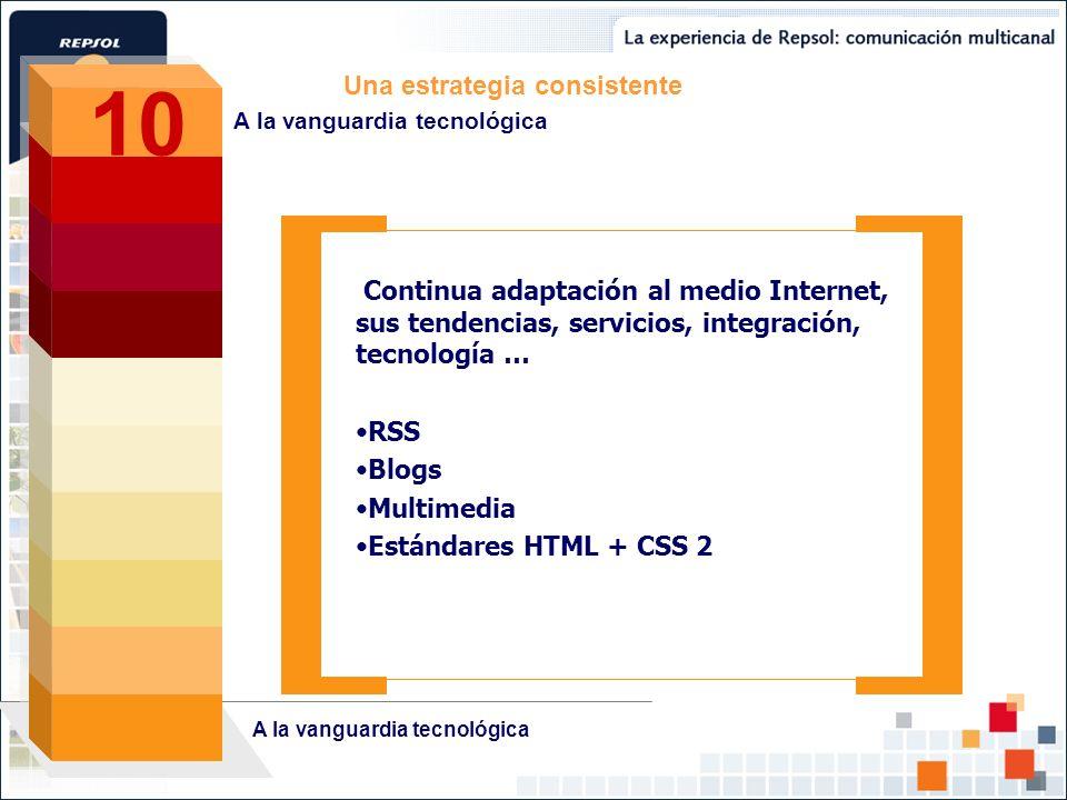 Continua adaptación al medio Internet, sus tendencias, servicios, integración, tecnología … RSS Blogs Multimedia Estándares HTML + CSS 2 Una estrategi