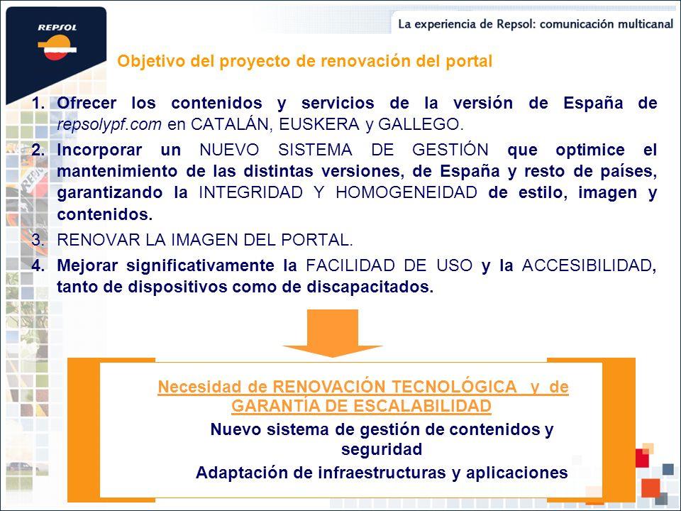 1.Ofrecer los contenidos y servicios de la versión de España de repsolypf.com en CATALÁN, EUSKERA y GALLEGO. 2.Incorporar un NUEVO SISTEMA DE GESTIÓN