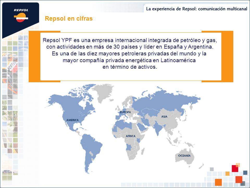 Repsol en cifras Repsol YPF es una empresa internacional integrada de petróleo y gas, con actividades en más de 30 países y líder en España y Argentina.