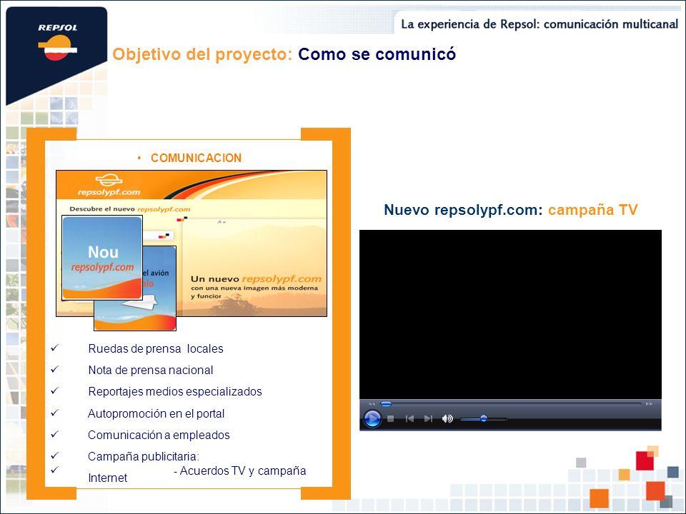Objetivo del proyecto: Como se comunicó COMUNICACION Campaña publicitaria: - Acuerdos TV y campaña Internet Ruedas de prensa locales Autopromoción en