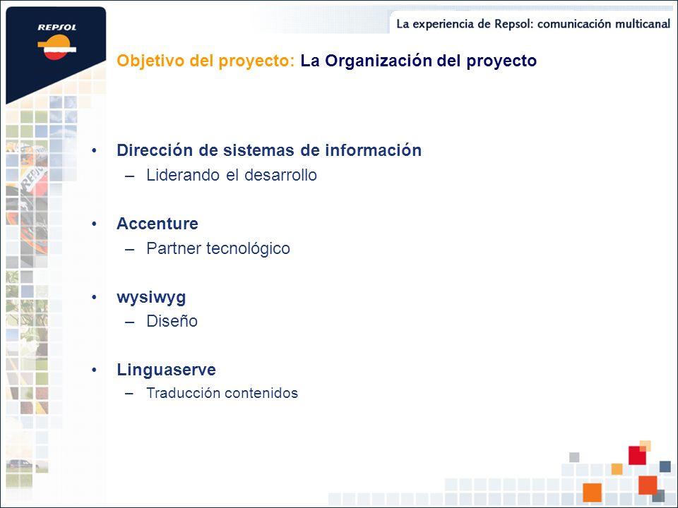 Objetivo del proyecto: La Organización del proyecto Dirección de sistemas de información –Liderando el desarrollo Accenture –Partner tecnológico wysiw