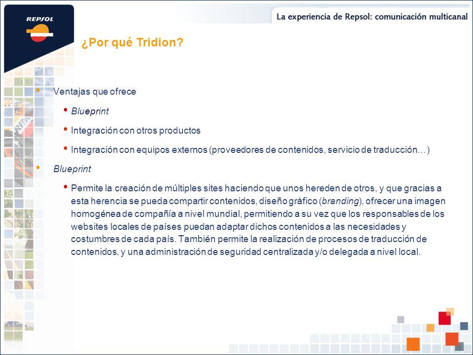 Ventajas que ofrece Blueprint Integración con otros productos Integración con equipos externos (proveedores de contenidos, servicio de traducción…) Bl